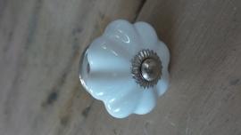 Grote witte porseleinen bloemknop meubelknop
