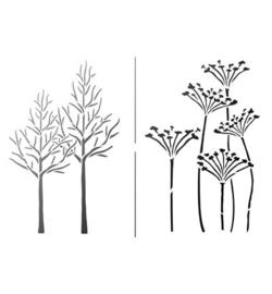 Sjabloon droogbloemen bomen