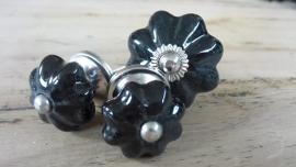 Klein zwart porseleinen bloemknop meubelknopje