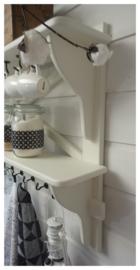Dubbele landelijke witte kapstok, keukenrek, theedoekenrek, mokkenrek