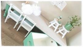 Hippe kindertafel speeltafel landelijke stijl gedraaide poten op maat gemaakt