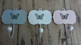 At Home kapstokhaak wit roze of grijs vlinder