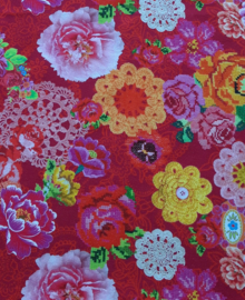 2338 - Cirkel rok bloemen (fuchsia roze)