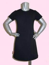 4127 - Zwart basic meisjes jurkje (ook met lange mouw)