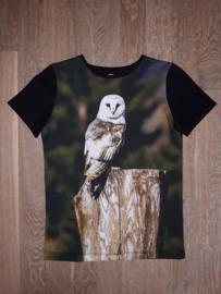 3394 - Shirt met korte mouw met uil maat 98-104, 110-116