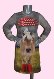 4356 - Paarden jurkje met rode paraplu 110-116