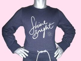 4389 - Vinrose donkerblauw glitter  jurkje maat 86-92, 98-104
