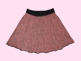 2333 - Luipaard print wijdvallend  rokje (roest kleur)