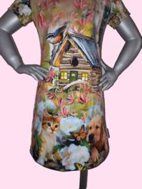 4400 - Hondjes en poesjes jurkje (ook lange mouw)