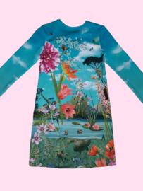 4449 -  Flamingo en pauw jurkje (ook korte mouw)