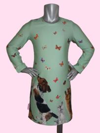 4232 - Groen hondjes en poezen jurkje