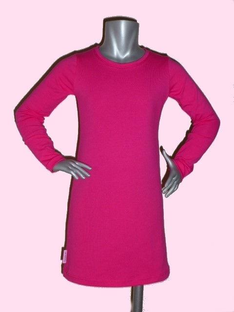 4115 - Fuchsia roze basic meisjes jurkje