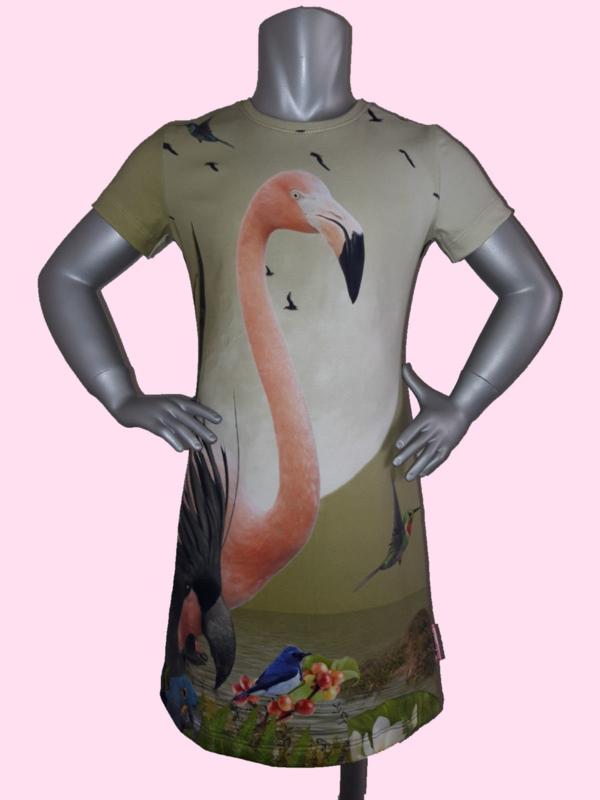 4398 - Flamingo jurkje maat 110-116, 122-128, 134-140, 146-152