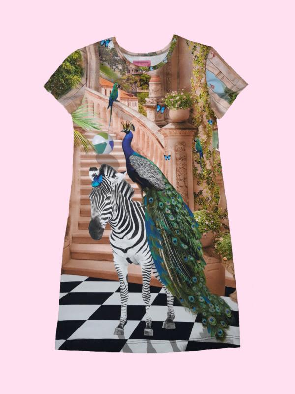 4454 - Zebra met pauw jurkje