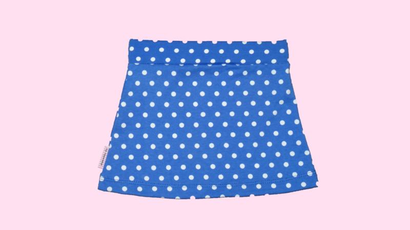 2244 - Cobalt blauw stippen tricot rokje