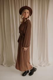 Dress Flower Plussize brown