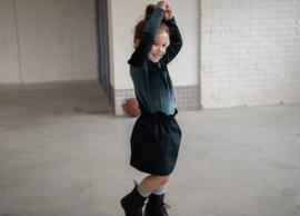 Skirt High Waist Dark Blue Melange