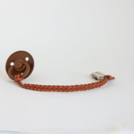 Braided Leather Pacifier Clip – Brown