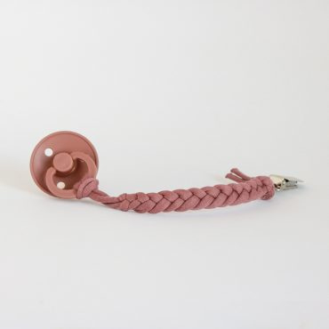 Cotton Braided Pacifier Clip – Plum