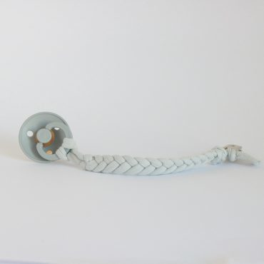 Cotton Braided Pacifier Clip – Silver