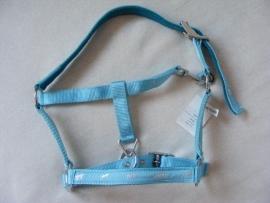 setje van luxe halster met paardjes + bijpassend halstertouw blauw