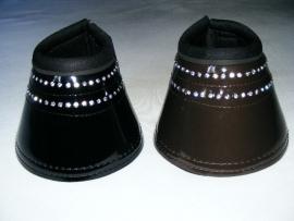 lak springschoenen met strass  donkerbruin