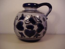 """Vloerkan in grijs blauw en fatlava. 21 cm. / Floor jug in gray blue and fatlava 8.3"""""""