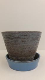 Blauwe hangpot  grove structuur / Blue hanging planter with coarse relief