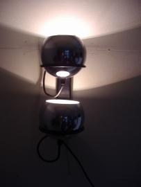 Duo bollamp in chroom hoogte 30 cm.