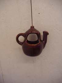 Theepotje in glanzend bruin 12.5 cm. / Tea pot in glossy brown 4.9 inch.