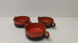 Oranje bruine soepkommen / Orange and brown soup bowls