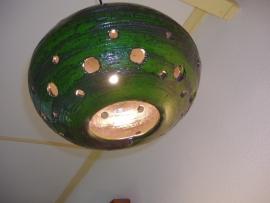 Groen chamotte plafondlamp