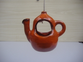 Theepotje in glanzend oranje 12 cm. / Tea pot in glossy orange 4.7 inch.