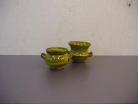 """Speck set kleine potjes in geel 7 en 8 cm. / set little ones in yellow 2.7 and 3.1"""""""
