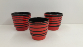 Set oranje potten met fatlava lijnen / Set orange planters with fatlava lines