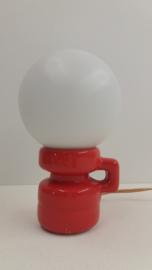 Keramisch oranje tafellampje 21 cm. / Ceramic orange table lamp 8.3 inch.