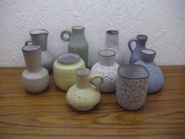 set 10 vaasjes Verkerk keramiek / set 10 little vases Verkerk keramiek.