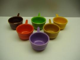 Set 6 sauskommetjes in diverse kleuren