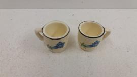 Minibekertjes met blauwe bloem  / Mini cups with blue flower