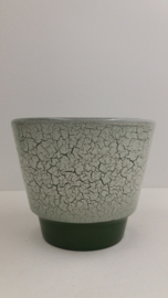Bloempot groen met witte crackelé / Planter green with white crackelé
