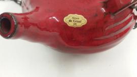 Potterie de Graaf vuurtest rood groot / Pottery de Graaf fire tess red orange big