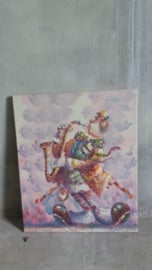 Moyen schilderij reliëf decor clown / Moyen painting relief decor clown
