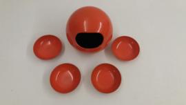 Pindaset in oranje melamine met 4 cups / Peanut set orange 4 cups