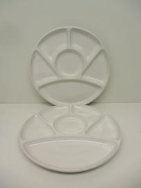 Fondue bord in wit 23cm. / Fondue plate in white 9.1 inch.