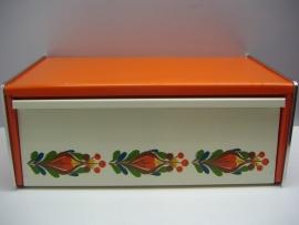 XL Broodtrommel oranje wit met retro bloemdecor.