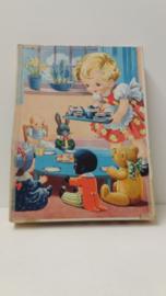 Wooden jig-saw kinder puzzel nr. 2 meisje met poppen