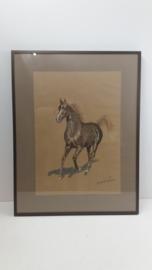 Harry van Zomeren doek met paard. / H. van Zomeren painting with horse