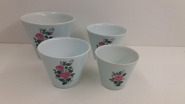 Set bloempotten licht blauw roze rozen / Set planters light blue pink roses