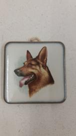 Lief honden tegeltje met een Herder 6 centimeter / Sweet dog tile 2.3 inch
