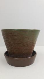 Groene hangpot  grove structuur / Green hanging planter with coarse relief